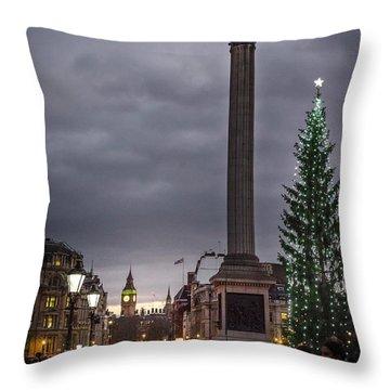 Christmas In Trafalgar Square, London Throw Pillow