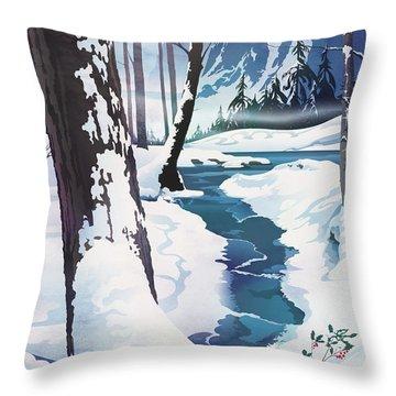 Morning At Christmas Creek Throw Pillow