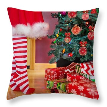 Throw Pillow featuring the photograph Christmas Presents by Top Wallpapers
