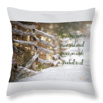 Christmas W/bobcat Throw Pillow