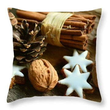 Throw Pillow featuring the photograph Christmash Still Life by Top Wallpapers