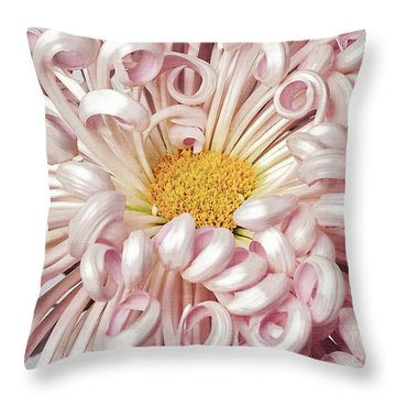 Throw Pillow featuring the photograph Chrysanthemum Satin Ribbon by Ann Jacobson