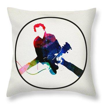Chuck Berry Watercolor Throw Pillow