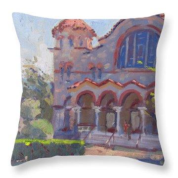 Church At Nea Erythraia Athens Throw Pillow