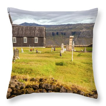 Church Cemetery Of Iceland Throw Pillow