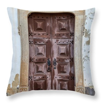 Church Door Of Obidos Throw Pillow