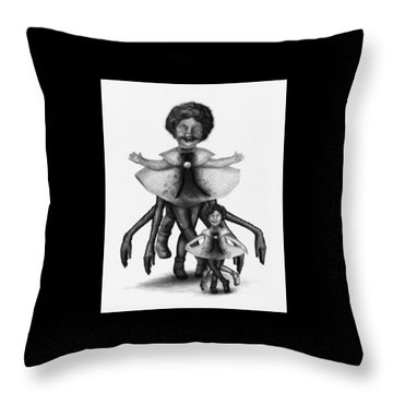 Cindy And Her Monstrous Doll - Artwork Throw Pillow