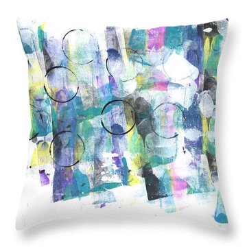 Circle And Rainbow Throw Pillow