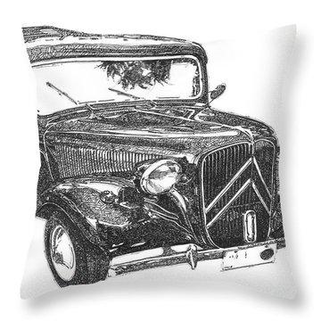 Citroen 11b 1956, Classic Car, Ink Drawing, Office Decoration Throw Pillow