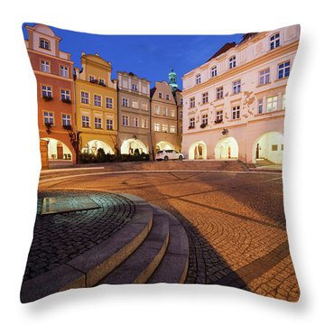 City Of Jelenia Gora In Poland At Night Throw Pillow
