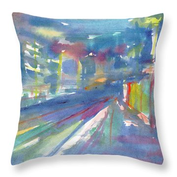 Throw Pillow featuring the painting Cityscape 2 by Dobrotsvet Art