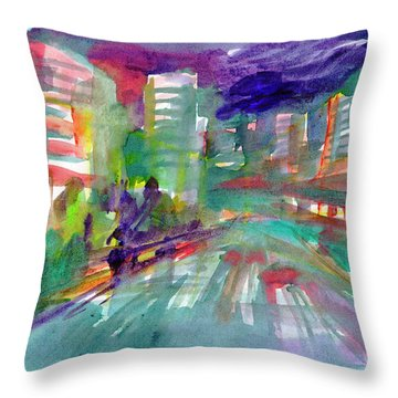 Throw Pillow featuring the painting Cityscape 3 by Dobrotsvet Art