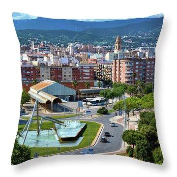 Cityscape In Reus, Spain Throw Pillow