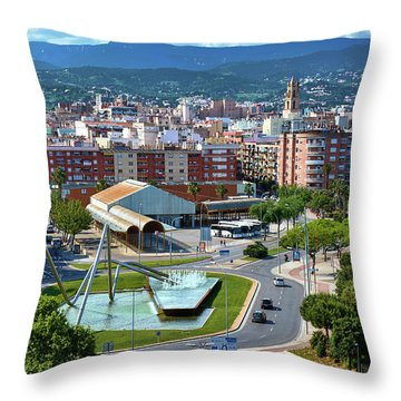 Cityscape In Reus, Spain Throw Pillow