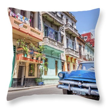 Classic Car In Havana, Cuba Throw Pillow
