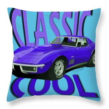 Classic Cool Corvette C3-tee Throw Pillow