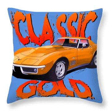 Classic Gold Corvette C3-tee Throw Pillow