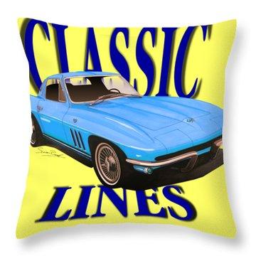 Classic Lines Corvette C2-tee Throw Pillow