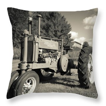 Classic Old Tractor Stowe Vermont Square Throw Pillow