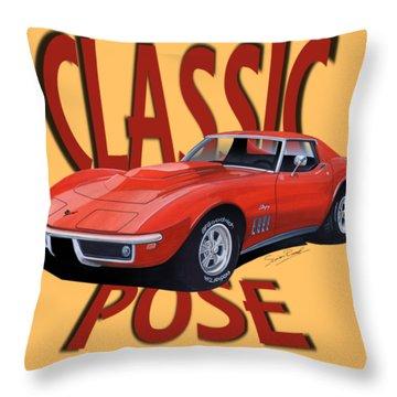 Classic Pose Corvette C3-tee Throw Pillow