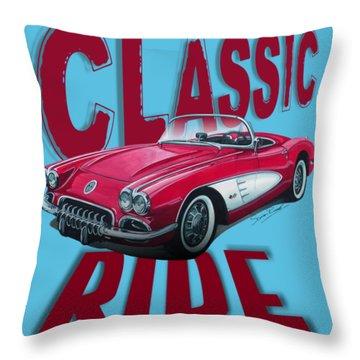 Classic Ride Corvette C1-tee Throw Pillow