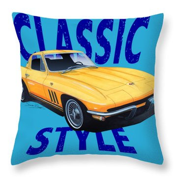 Classic Style Corvette C2-tee Throw Pillow