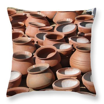 Clay Pots  For Sale In Chatikona  Throw Pillow
