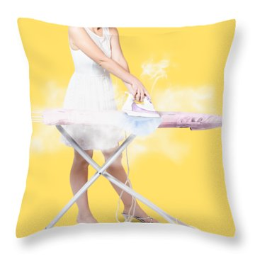 Cleaning Lady Steam Pressing Ironing Board Cover Throw Pillow