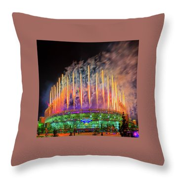 Cleveland Baseball Fireworks Awesome Throw Pillow