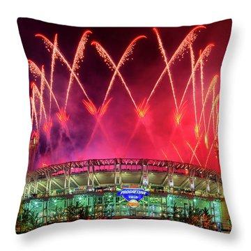 Cleveland Indians Fireworks Throw Pillow