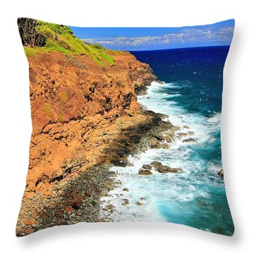 Cliff On Pacific Ocean Throw Pillow