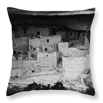 Throw Pillow featuring the photograph Cliff Palace In Black And White by Jon Burch Photography