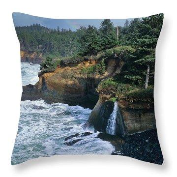 Cliffs Of Boiler Bay Throw Pillow