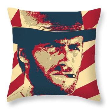 Clint Eastwood Retro Propaganda Throw Pillow