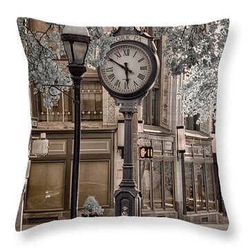 Clock On Street Throw Pillow