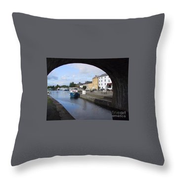 Throw Pillow featuring the painting Cloondara,a Shannon By Way. by Val Byrne