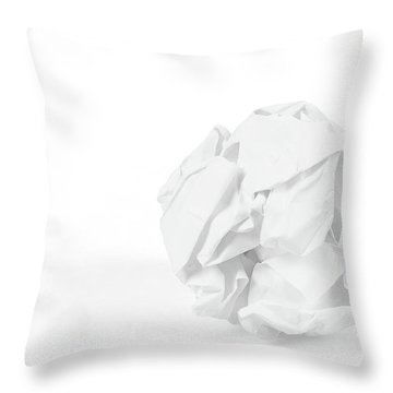 Close-up Of Crumpled Paper Ball Throw Pillow