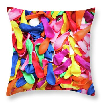 Close-up Of Many Colorful Children's Balloons, Background For Mo Throw Pillow