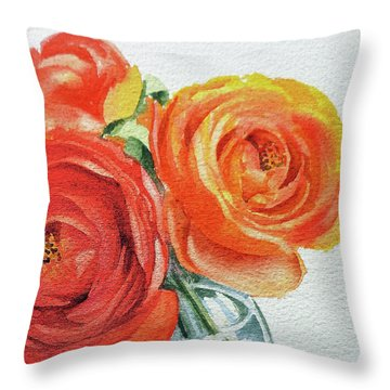 Close Up Of Ranunculus Flowers Watercolor Throw Pillow
