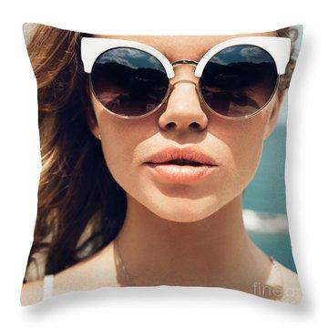 Sunbathing Throw Pillows