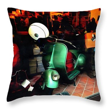 Throw Pillow featuring the photograph Clothing Shop With Vespa Pienza by Dorothy Berry-Lound