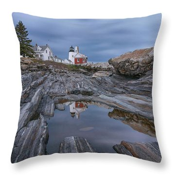 Cloudy Afternoon At Pemaquid Point Throw Pillow