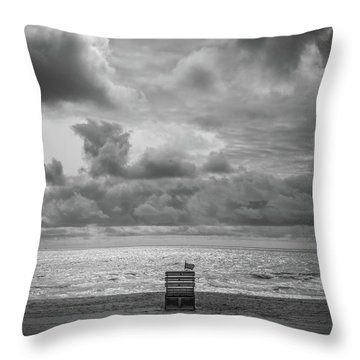 Cloudy Morning Rough Waves Throw Pillow
