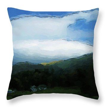 Cloudy View Painting Throw Pillow