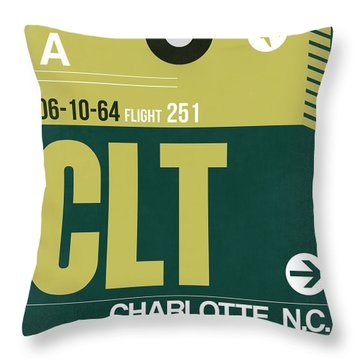 Clt Charlotte Luggage Tag II Throw Pillow