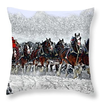 Clydesdales Hitch In Snow Throw Pillow
