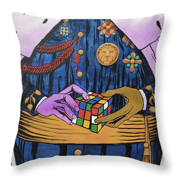 Throw Pillow featuring the painting Co-laboring Royalty by Nathan Rhoads