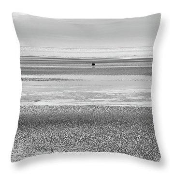 Coastal Brown Bear On  A Beach In Monochrome Throw Pillow
