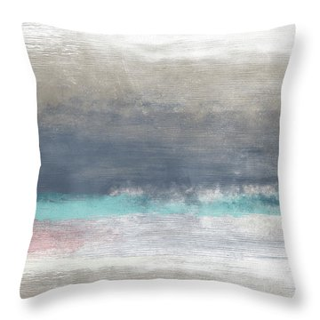 Coastal Escape Landscape -abstract Art By Linda Woods Throw Pillow