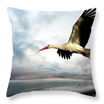 Coastal Stork Throw Pillow